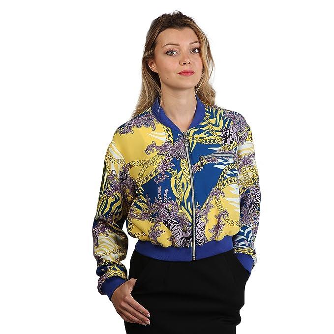 Versace Jeans - Chaqueta moderna con cremallera para mujer (40 IT/Azul/amarillo