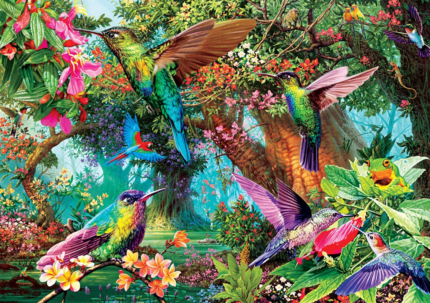 antkondnm Hummingbird Butterfly Jigsaw Puzzles 1000 Pieces for Adults Fun Game Intellectual Decompressing Interesting Puzzle