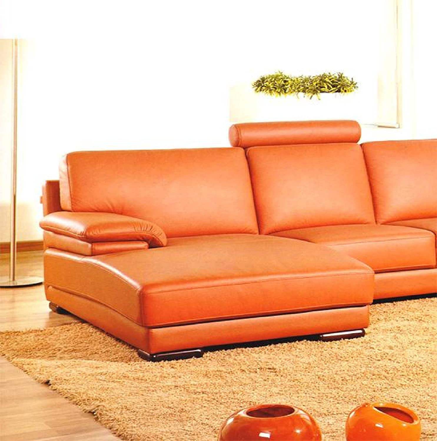 Amazon 2227 Orange Leather Contemporary Sectional Sofa With