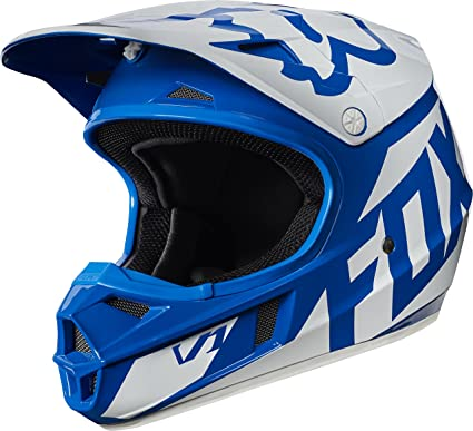 Fox Racing Race Youth V1 Motocross Motorcycle Helmet - Blue / Medium. Roll  over image to zoom in