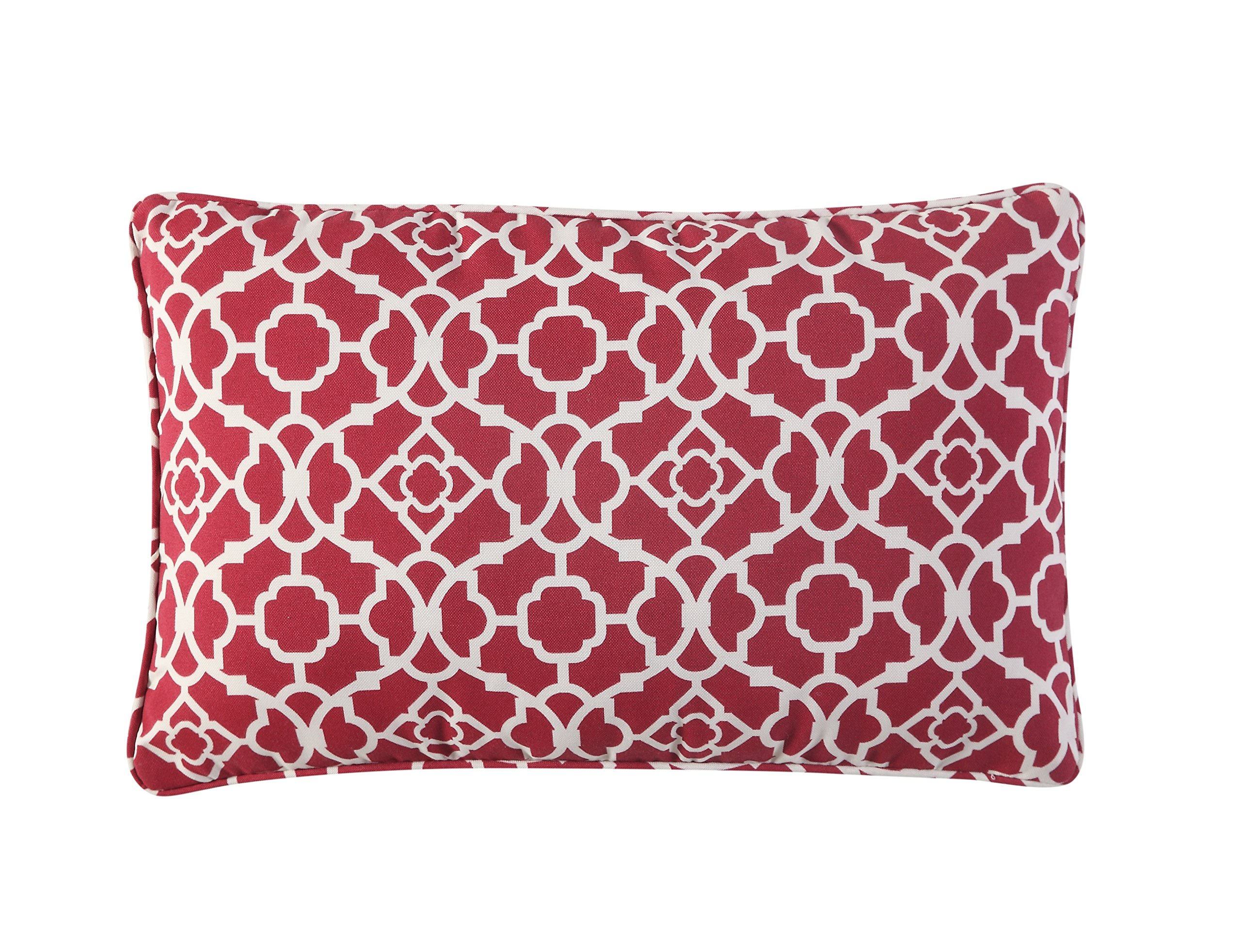 WAVERLY Indoor/Outdoor Decorative Throw Cushion – 19 x 12 Inches, FILLING INCLUDED, Available in Many Designs, Comfortable and Durable (Lov Latt RED) - UV RESISTANT: The Waverly collection of outdoor cushions is made of 100% polyester UV resistant fabric. WATER REPELLENT: Made to withstand the outdoors, the water repellant fabric will not soak up from spills. FILLING INCLUDED: Throw pillows are shipped with the filling included. Notice: Due to vacuum package, the pillow comes in compressed form, it will take 1-2 days to fully expand. - patio, outdoor-throw-pillows, outdoor-decor - 91xpFAXrE%2BL -