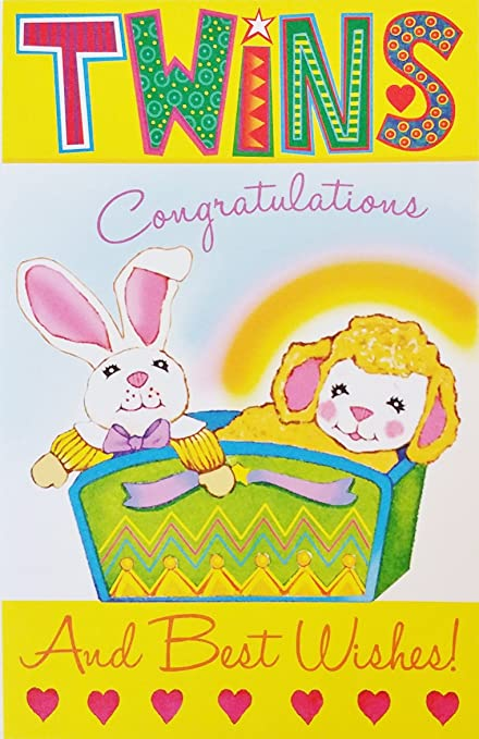 Amazon twins congratulations and best wishes baby birth twins congratulations and best wishes baby birth greeting card quotdouble the love m4hsunfo