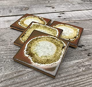 product image for Geode Crackle Coaster Set of 4 in Cinnamon, Geode Coaster, Crackle Coaster, Fused Glass Coaster, Crackle Glass Coaster, Agate Coaster, Ceramic Coaster, Dock 6 Pottery Coaster