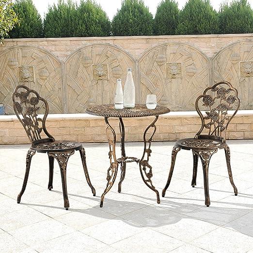 LD mesa + 2 sillas hierro fundido Antiguo Bronce Bistro – Juego de asiento Jardín: Amazon.es: Jardín