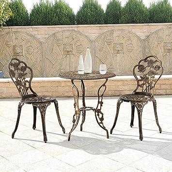 LD mesa + 2 sillas hierro fundido Antiguo Bronce Bistro - Juego de ...
