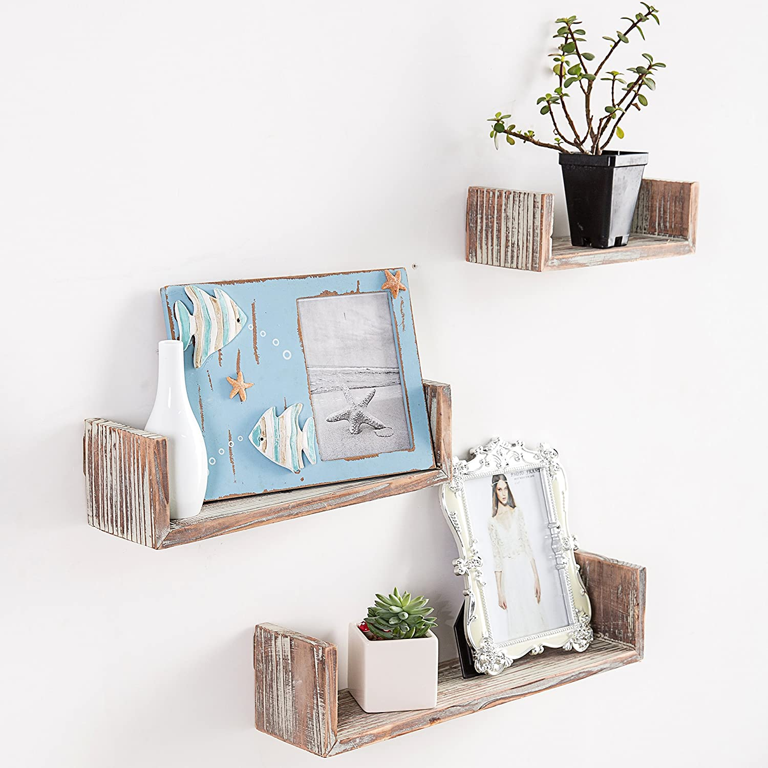 Wall Mounted Torched Wood U-Shaped Floating Shelves, Set of 3, Dark Brown MyGift