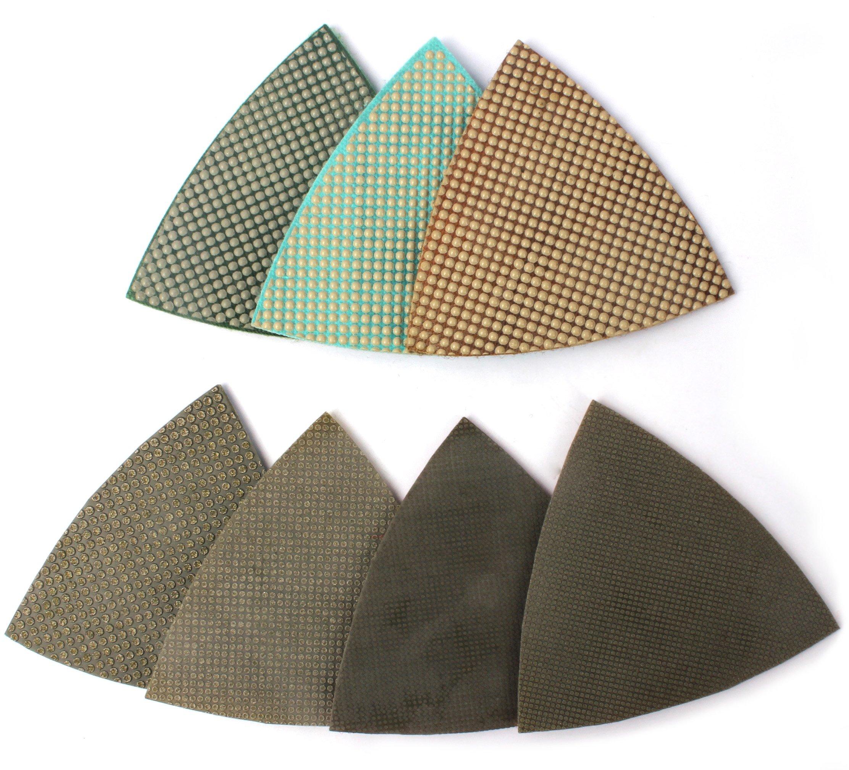 Z-Lion Diamond Triangular Sanding Pads 7 Pcs Set for Granite Marble Glass Sanding Polishing