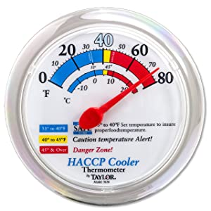 """Taylor Precision Products 5636 Cooler/Freezer Wall Thermometer with Mounting Bracket, 6"""" Dial HACCP, 8.5' Height, 6.75' Width, 1.3' Length"""