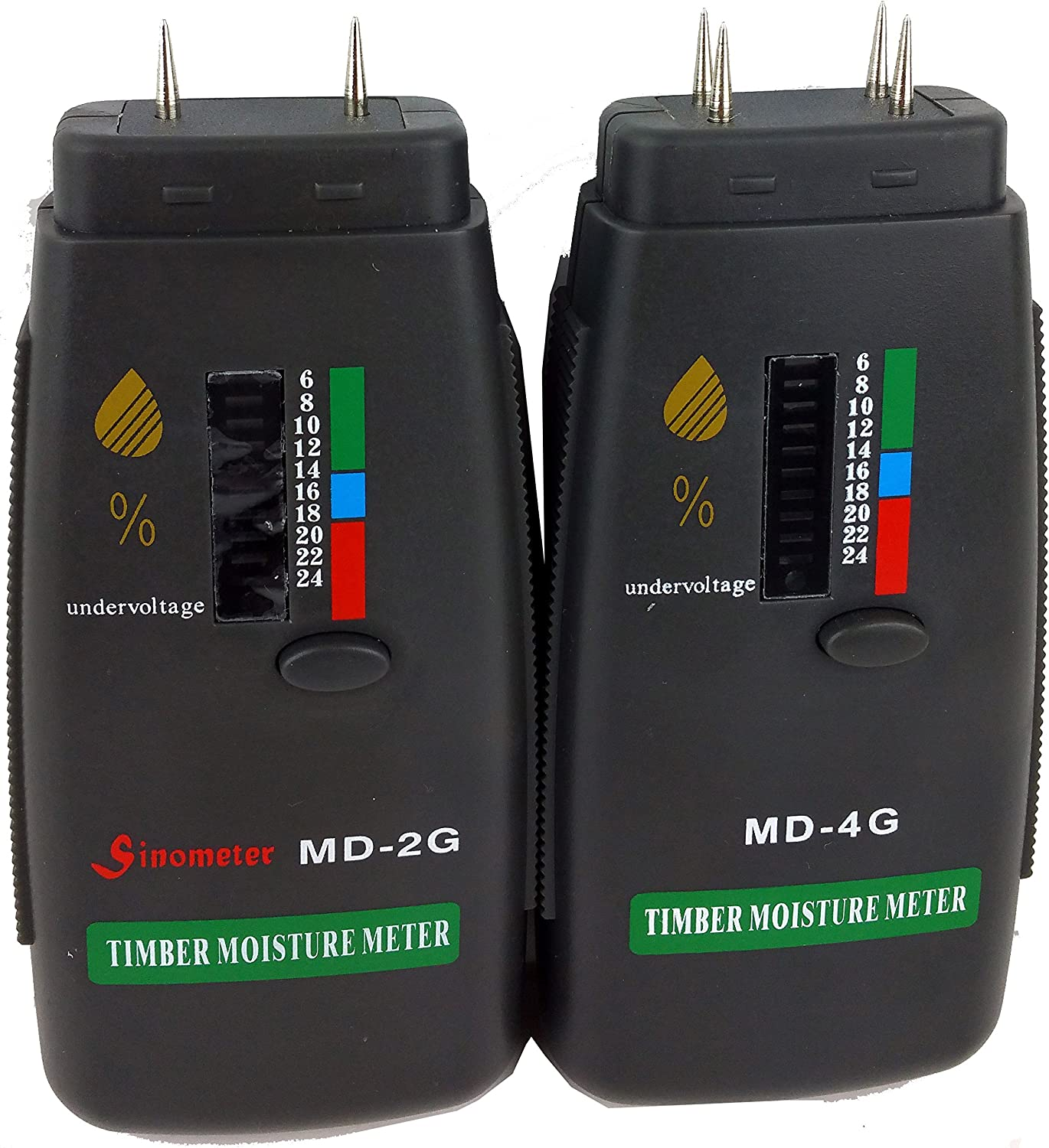Sinometer MD-2G Wood Moisture Meter To Measure the Percentage of Water in Given Substance Wood, Sheetrock, Carpets and More Range 6/% - 24/% RH