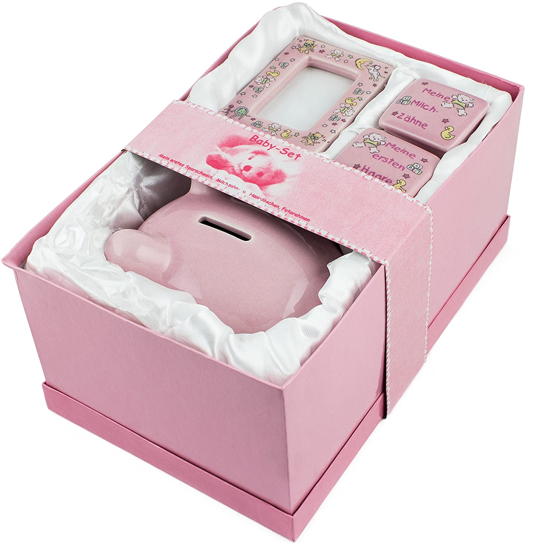 Brubaker–Set 'Mi primer Hucha', color rosa para primer bajo Dinero, primera dientes de leche, pelo y con fotos