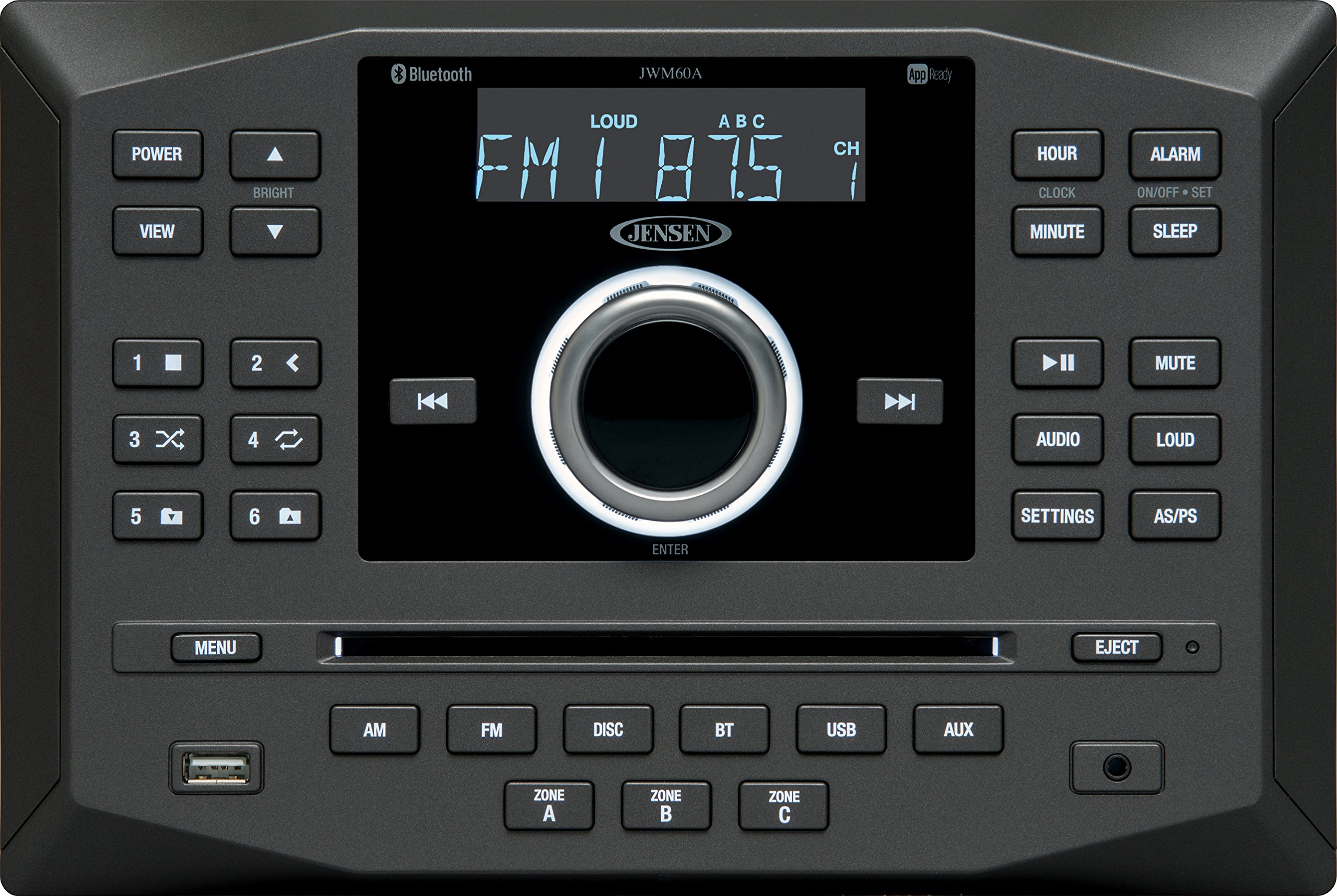 Jensen JWM60A AM|FM|DVD|CD|USB|AUX|HDMI|App Ready Bluetooth Wallmount Stereo with App Control, Plays: CD, CD-R, CD-RW, DVD, DVD+RW, DVD-RW, MP3, DVD-Video, MPEG-4, VCD, JPEG, CD-DA, MP3, WMA, Dolby