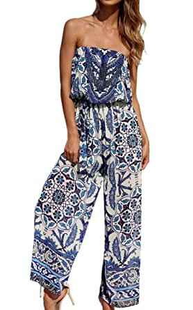 8ebfbf46e8db ECOWISH Womens Off Shoulder Floral Print Strapless Jumpsuit Wide Leg Rompers  Blue L