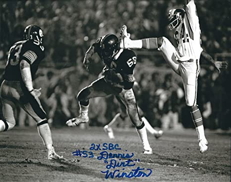 29d14268540 Image Unavailable. Image not available for. Color: Autographed Dennis Dirt Winston  Pittsburgh Steelers ...