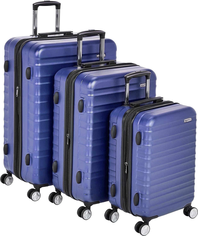 AmazonBasics - Maleta rígida «Hardside» de alta calidad, con ruedas giratorias y cerradura TSA incorporada - Juego de 3 unidades (55 cm, 68 cm, 78 cm), Azul