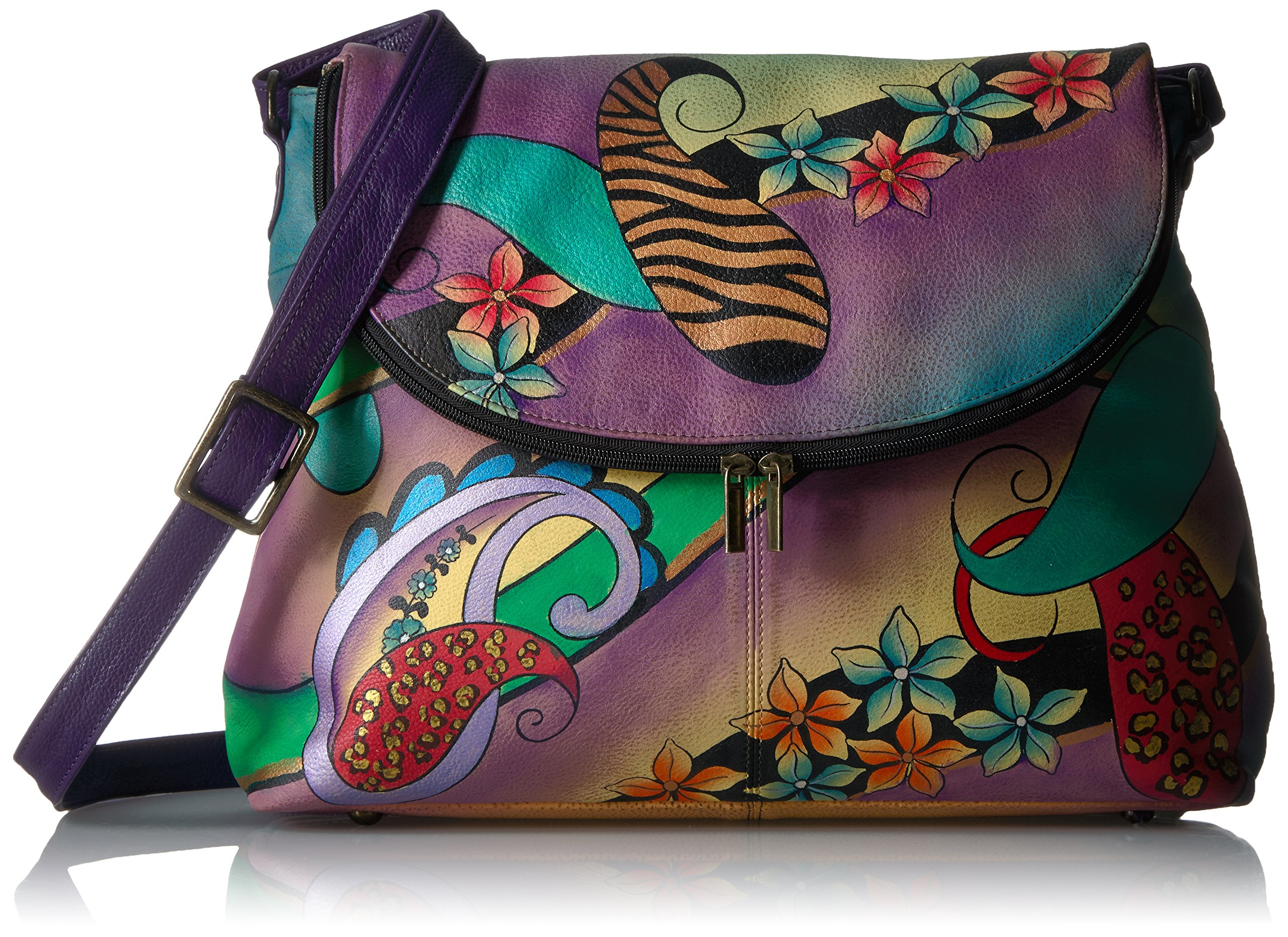 Anuschka Hand Painted Large Flap Bag, Pcl-E-Paisley Collage Egg Plant