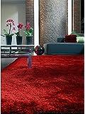 Benuta Whisper Shaggy Hochflor-Teppich | Langflor-Teppich in Rot für Schlafzimmer und Wohnzimmer | 80x150 cm