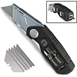 Folding Lockback Utility Knife - Box Cutter with Wire Stripper Tool, Screwdriver Bits | Quick Release Replaceable Blades & Safe Lock | Heavy Duty with Belt Clip | Easy Pocket Storage (Black)