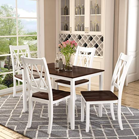 Merax Dining Table Set Kitchen Dining Table Set For 4, Wood Table And  Chairs Set (White U0026 Cherry)