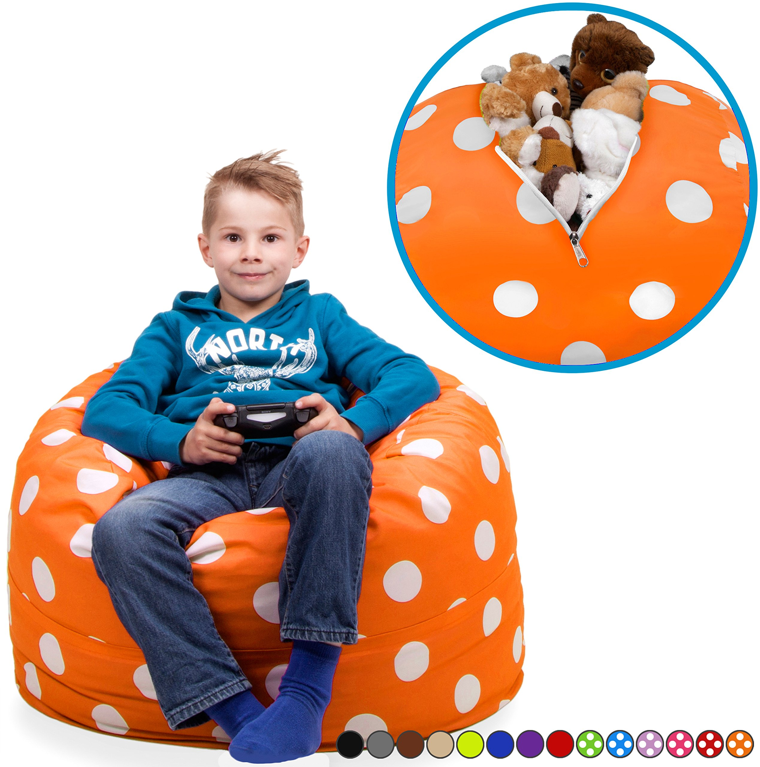 Stuffed Animal Storage Bean Bag Chair In Vibrant Orange With White Polka Dots FILL IT