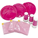 HEKU 30005 Set di stoviglie monouso per feste, con piatti, bicchieri e tovaglioli, 120 pezzi Pink