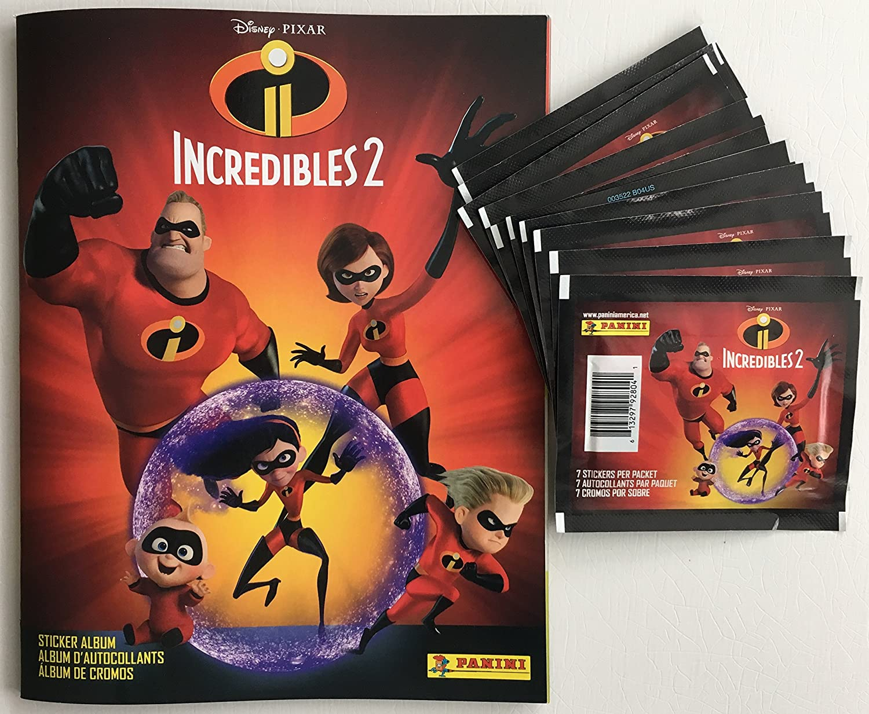 Disney Pixar Incredibles 2 Movie Panini Combo 1 Sticker Album Plus 10 Packs (Total 80 Stickers)