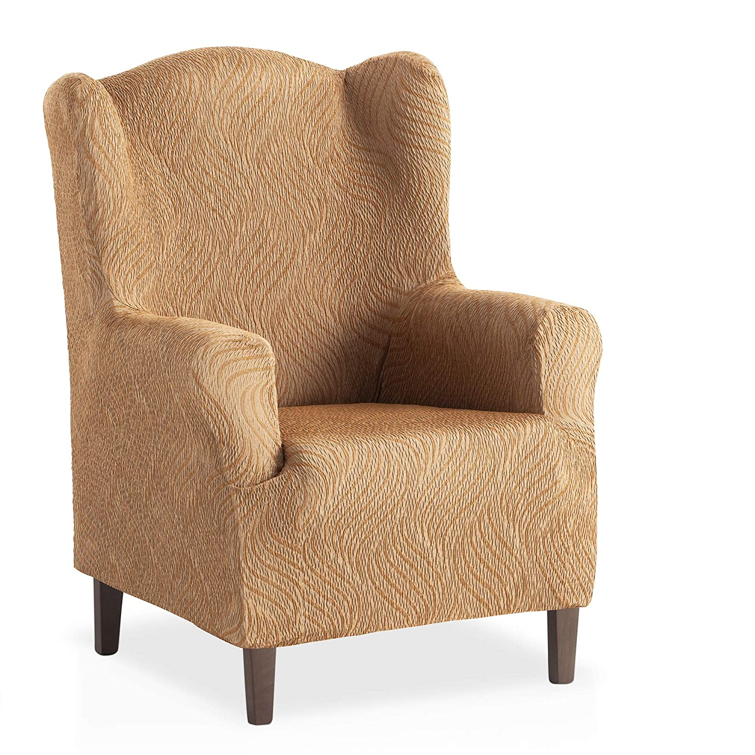 Bartali Elastic Winged Armchair Cover Aitana - Beige Colour - 1 Seater size (from 70 to 110 cm)