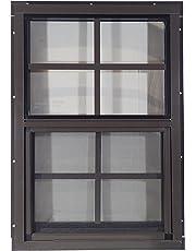 "Shed Windows 14"" W x 21"" H - J-Lap w/ Safety Glass - Playhouse Windows (Brown)"
