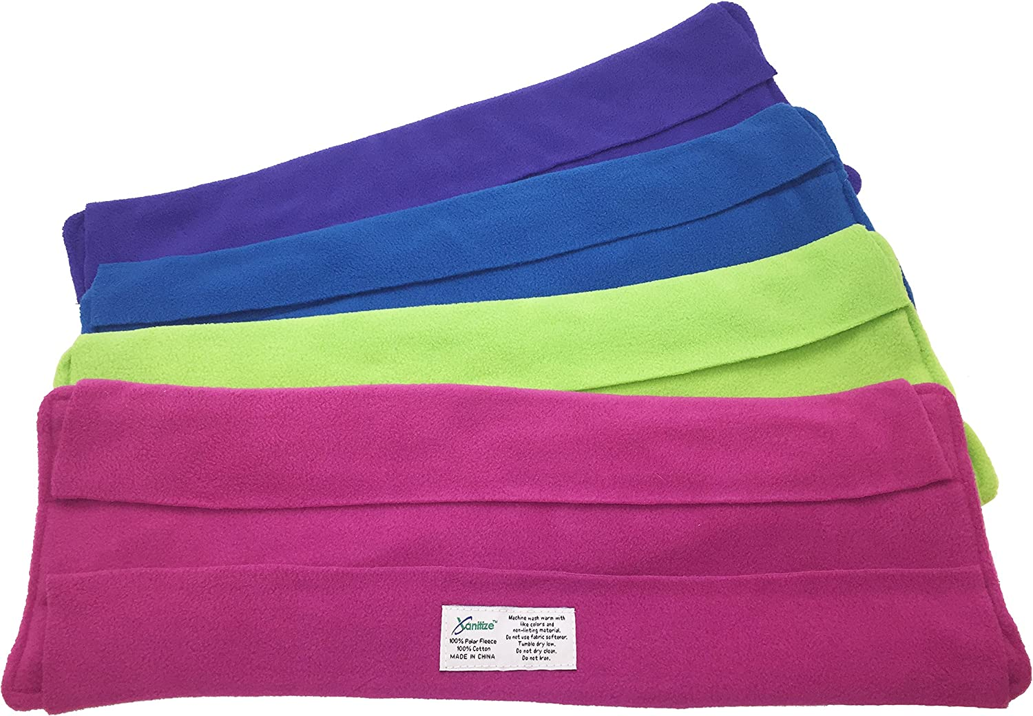 Wet Mop Pads for Sweeper - 2 Sided Fleece & Terry Cloth - Washable Reusable by Xanitize (4-Pack) (X-Large, Purple, Blue, Green, Pink)