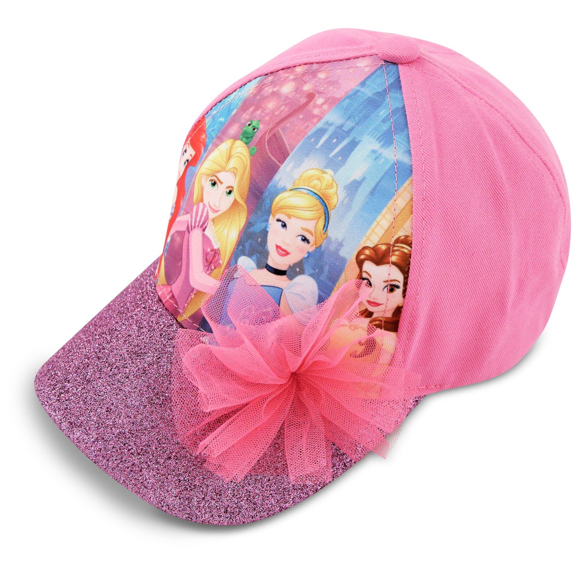 Disney Little Girls Princess Characters Cotton Baseball Cap, Pink, Age 4-7