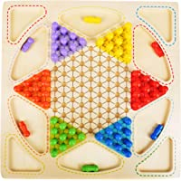 Trinkets & More Unisex Wood 2 in 1 Premium Chinese Checker Board with Marbles and Ludo Classic Games Superb Family Game (Multicolour)