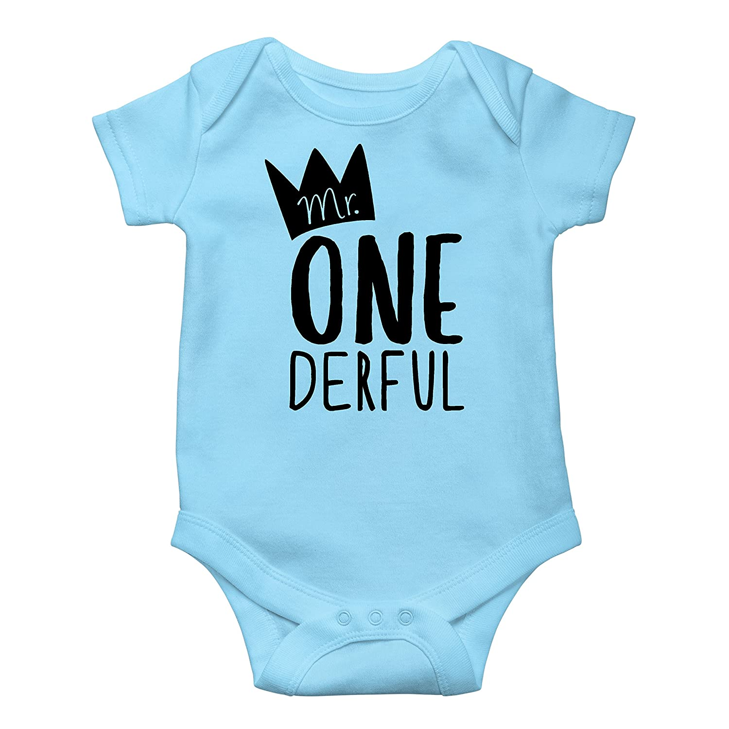 Mr One-Derful Baby Boys 1st Birthday Bodysuit First Birthday Outfit for Boys MRONEDERFUL-PAR