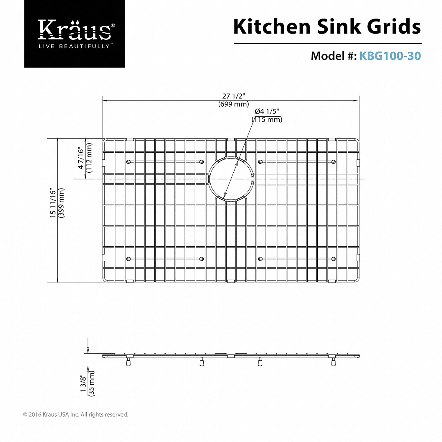 Kraus Kbg 100 30 Stainless Steel Bottom Grid For Khu100 Single One Line Wiring Diagram Kitchen Bowl Sink 27 X 15 11 16 1 3 8 Sinks
