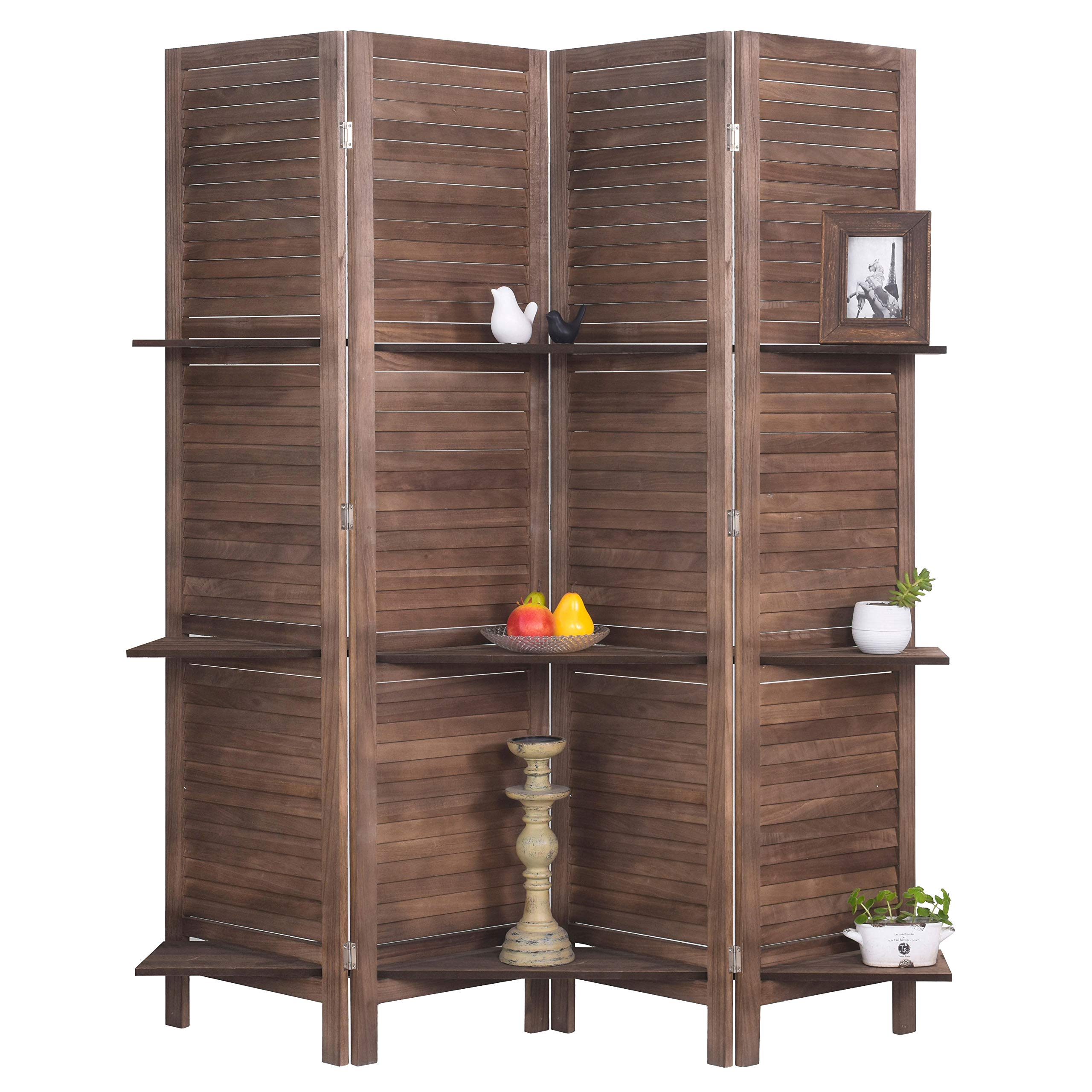 RHF 4 Panel 5.6 Ft Tall Partition Wood Room Divider, Wood Folding Room Divider Screens, Panel Divider&Room Dividers, Room Dividers and Folding Privacy Screens with Shelves(4 Panel,Brown)