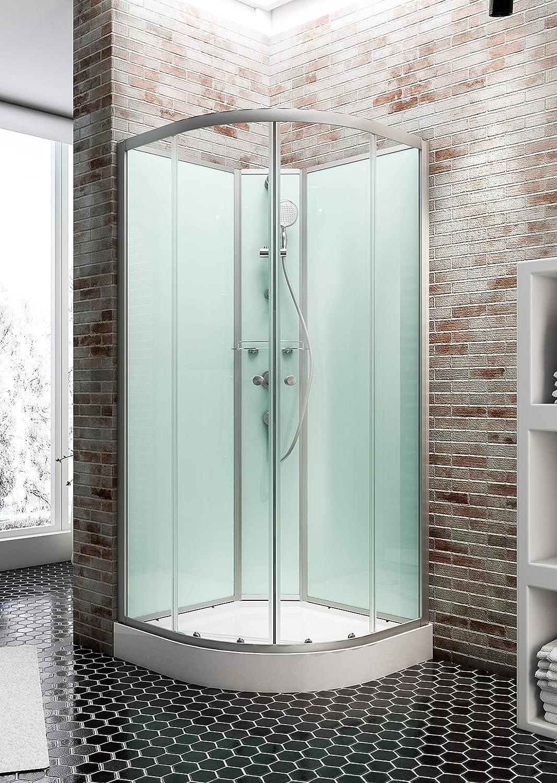 Sculte 4060991009754 cabina de ducha completa Corsica, cabina de ducha integral redondeada, verde agua, 90 x 90 cm: Amazon.es: Bricolaje y herramientas