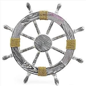 Nautical Pine Wood Decorative Rope Ship Wheel - Captain Maritime Beach Home Decor Gift - Nagina International (36 Inches)