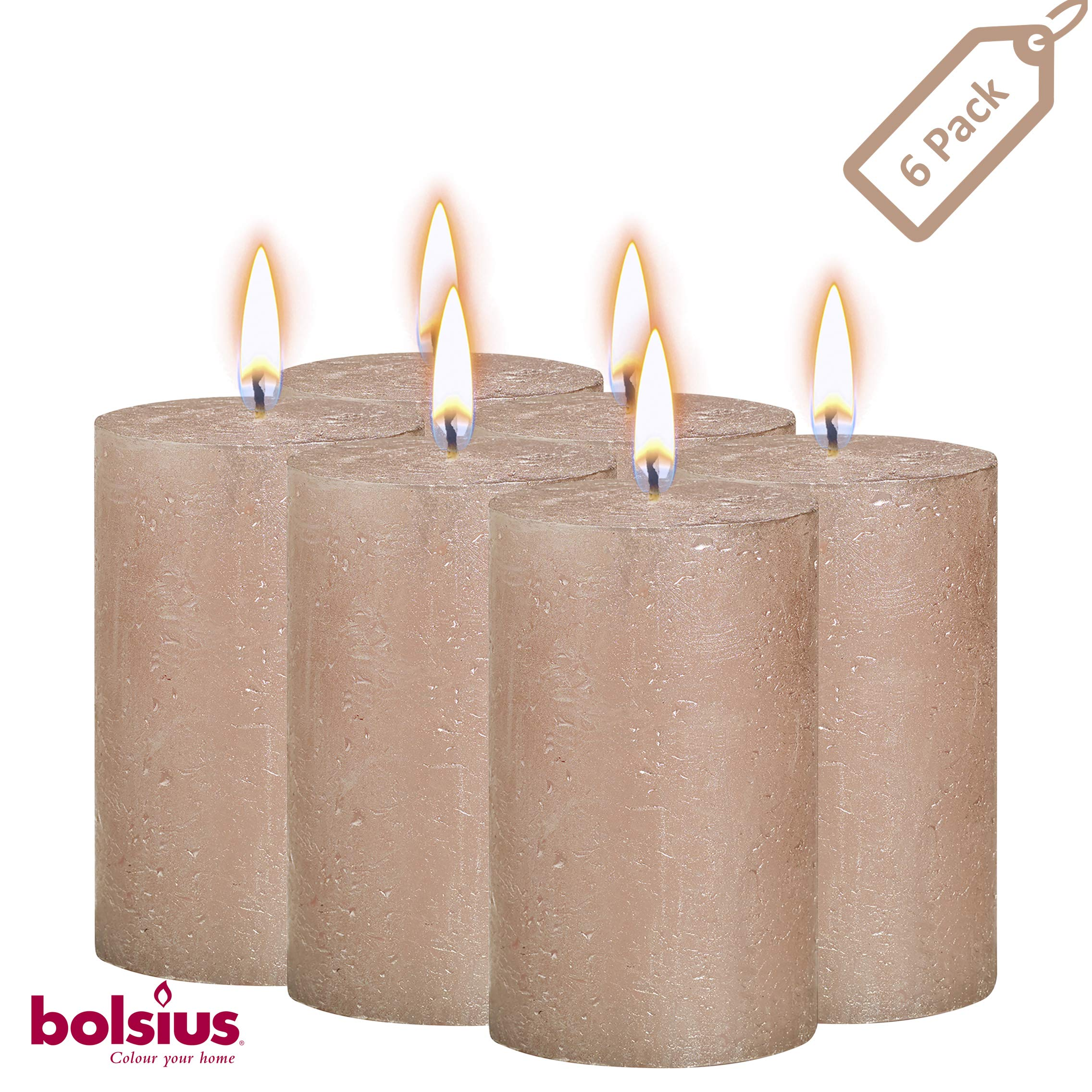BOLSIUS Rustic Full Metallic Rose Gold Candles - Set of 6 Unscented Pillar Candles - Rose Gold Candles with a Full Metallic Coat - Slow Burning - Perfect Décor Candle - 130/68m 5 X 2.75 Inches