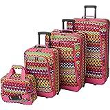 Rockland Escape 4-Piece Softside Upright Luggage Set, Tribal, (14/19/24/28)
