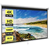 VIVOHOME 80 Inch Manual Pull Down Projector Screen, 16:9 HD Retractable Widescreen Matte for Movie Home Theater Cinema Office