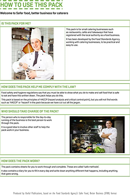 SFBB HACCP for Caterers Book /& Diary  Restaurants Takeaways Safer Food Hygiene