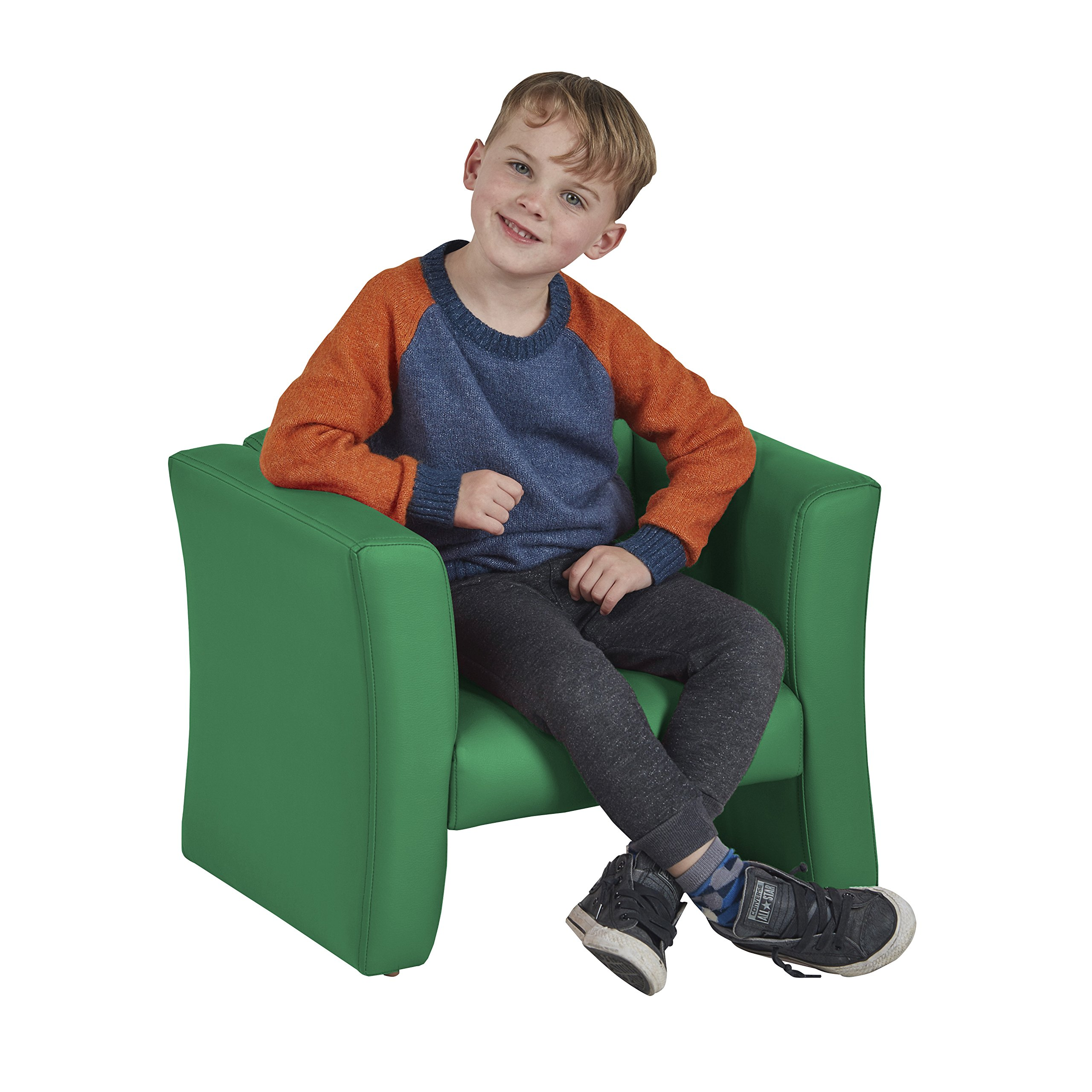 ECR4Kids SoftZone Gum Drop Upholstered Chair for Kids - Daycare, Homeschool, Classroom Furniture, Home Decor - Green