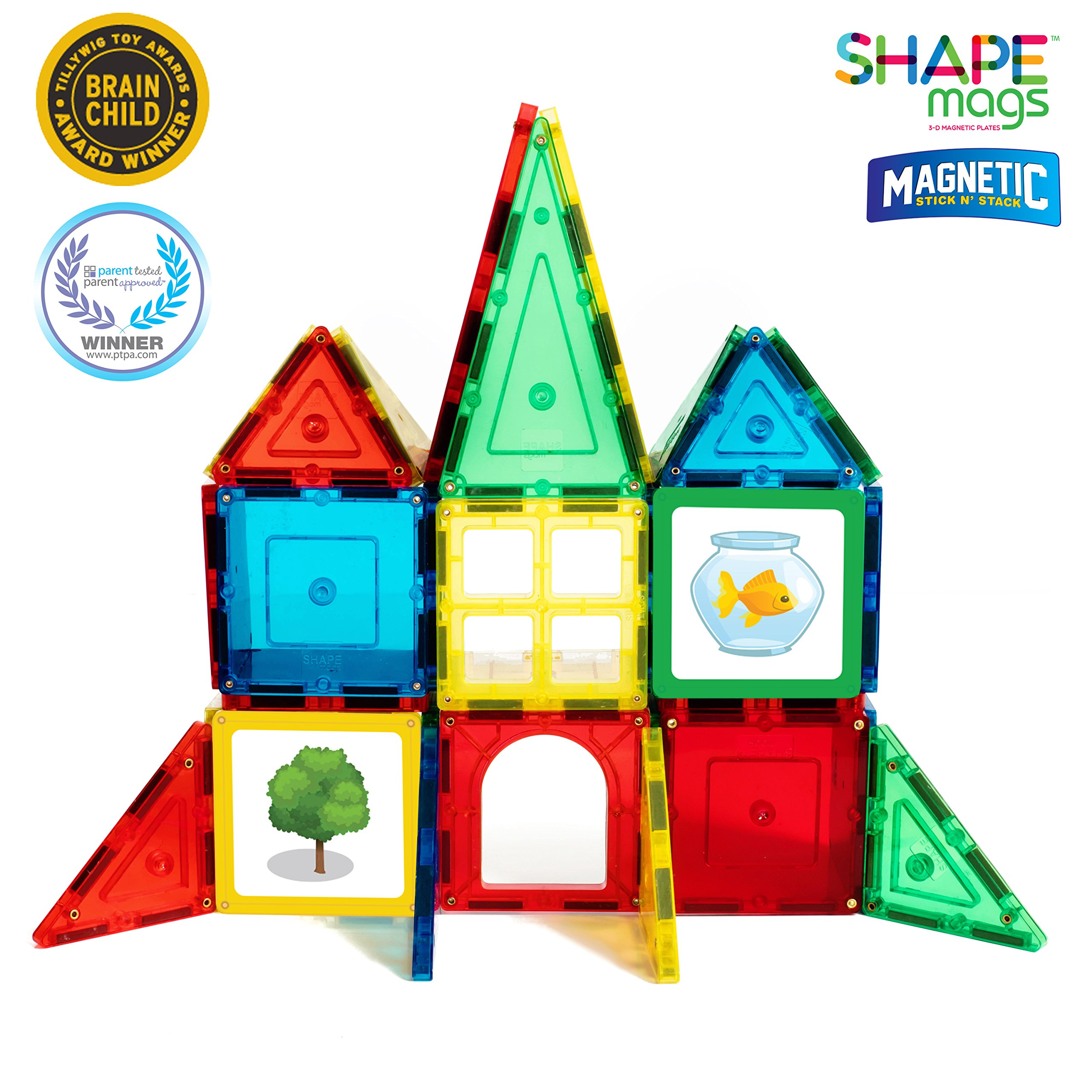 Magnetic Stick N Stack Award Winning 40 Piece Junior Set, Includes 32 Magnetic Tiles and 8 Stilemags. Made with Power+Magnets