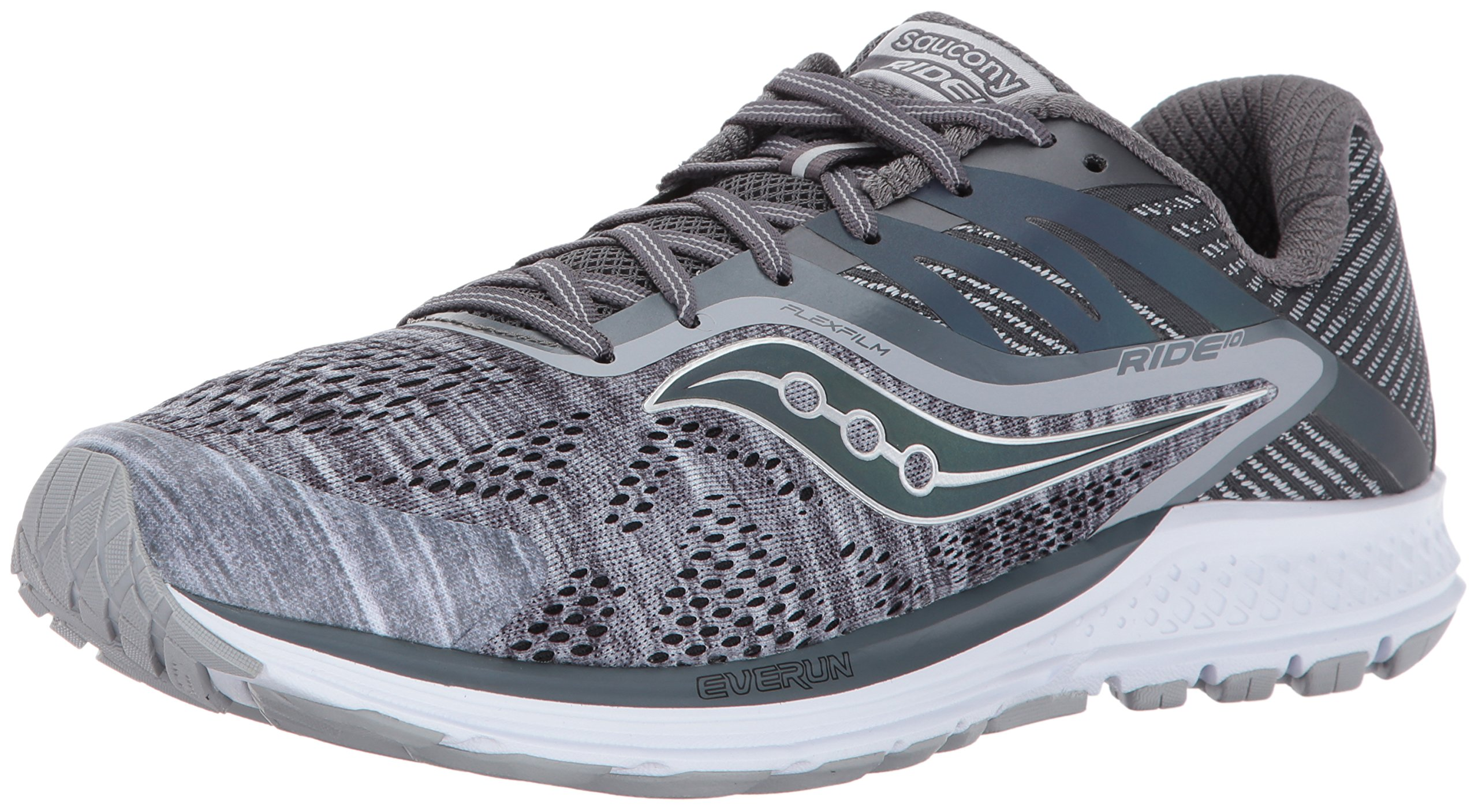 Saucony Men's Ride 10 Running Shoe, Grey, 13 M US by Saucony