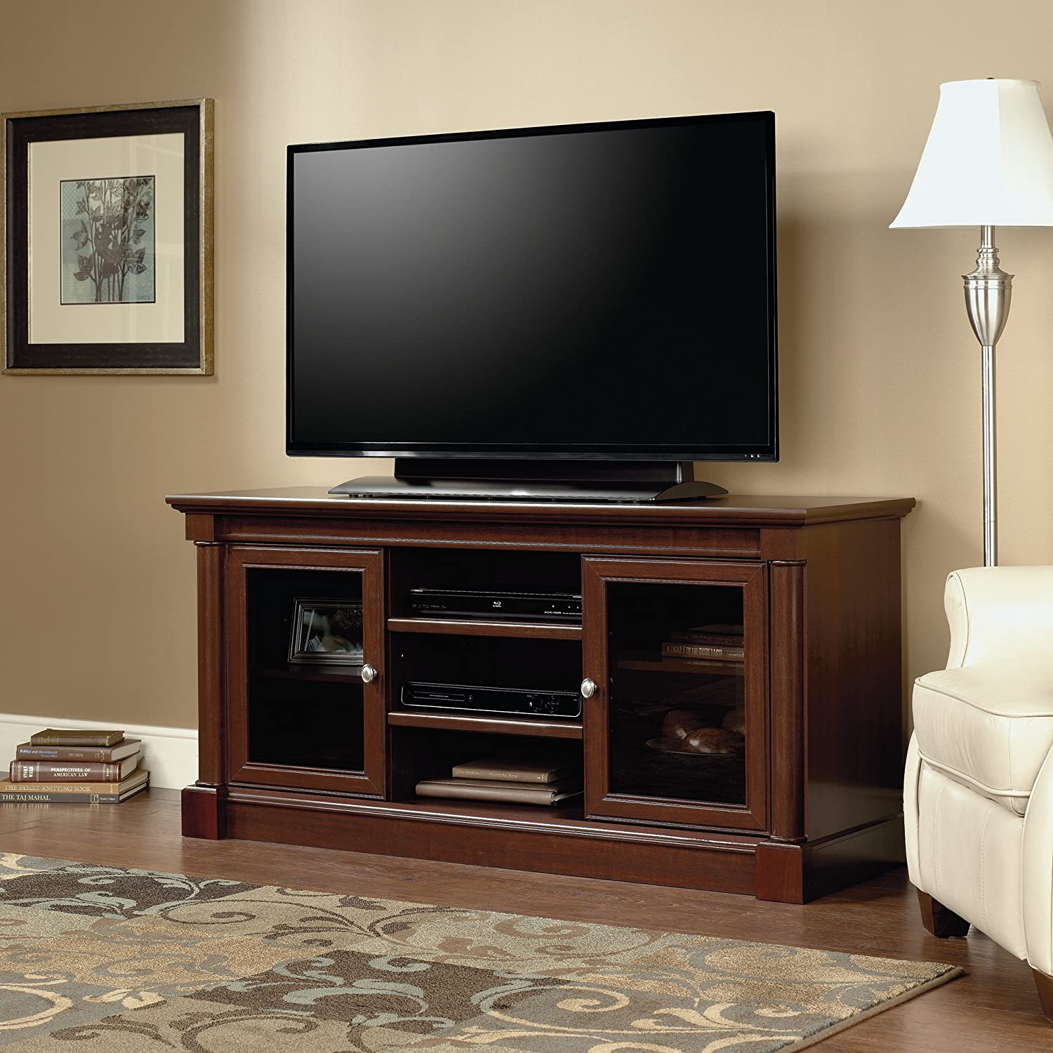 Sauder 411865 Palladia Entertainment Credenza, For TVs up to 60 , Select Cherry finish
