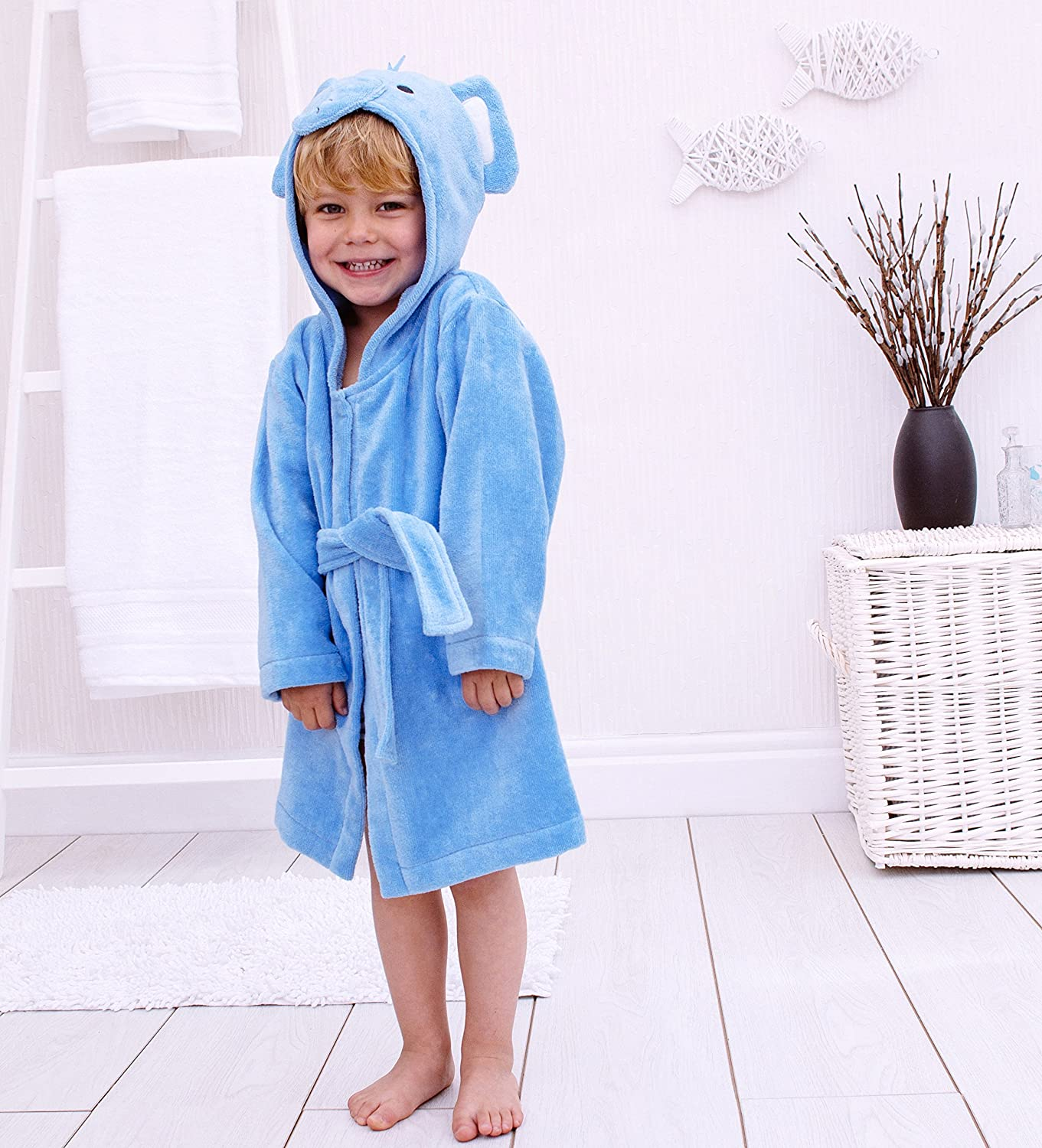 Bathing Bunnies Hooded Elephant Bath Robe Cotton for 1-3 Year Old Surrey AT Company Ltd 760408ETR
