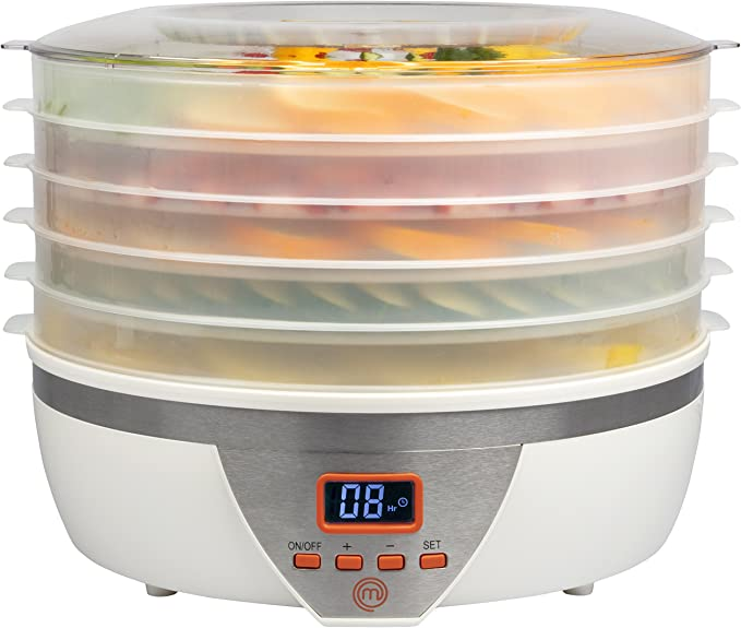 MasterChef Food Dehydrator w 5 Trays and Digital Temperature Controls- Dehydrating Machine includes FREE Recipe Guide- Overheating Protection + 8L Capacity- Dry Fruits, Vegetables Beef Jerky and More