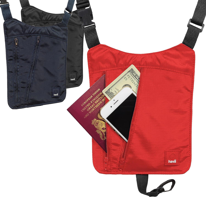 Passport Holder Organiser Hava RFID Travel Neck Wallet Mobile Phone Pouch with Neck Strap