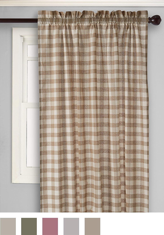 Amazon.com: Achim Home Furnishings Buffalo Check Curtain Panel, 42-Inch by  84-Inch, Burgundy: Home & Kitchen