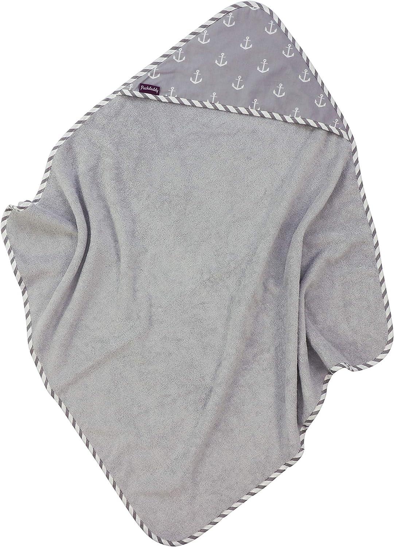 Puckdaddy Toalla con capucha Greta - 80x81 cm, toalla de bebé con diseño de ancla en gris, toalla suave y absorbente para bebés de algodón y rizo, toalla con capucha para niños de hasta 5 años