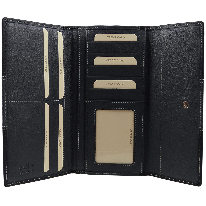 GOLUNSKI Leather Large Black//China Rose Women/'s 14 Card Slot Purse Wallet 6-001
