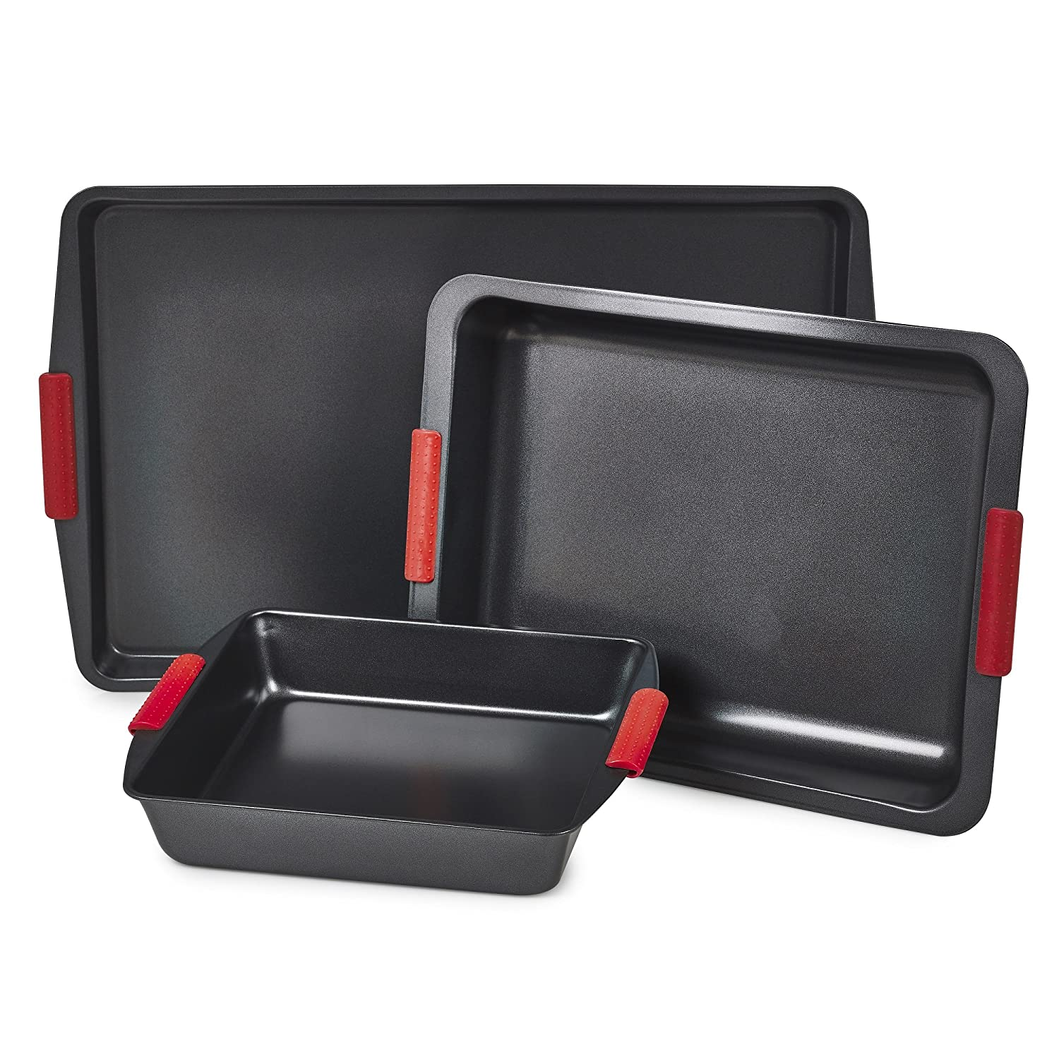 Homiu Set Of 3 Non Stick Baking Roasting Carbon Steel Oven Trays – Silicone Non Slip Grip Handles